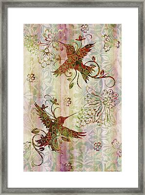Victorian Humming Bird Pink Framed Print