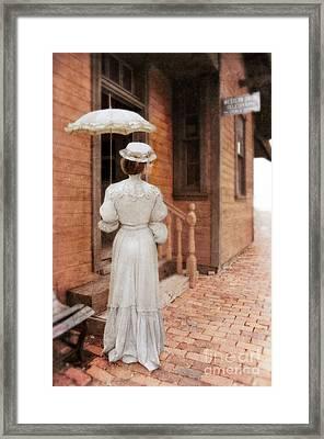 Victorian Lady At Train Station Framed Print by Jill Battaglia