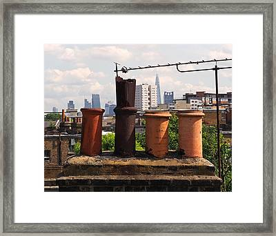 Victorian London Chimney Pots Framed Print by Rona Black