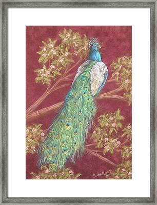 Victorian Peacock Framed Print by Sandra Poirier