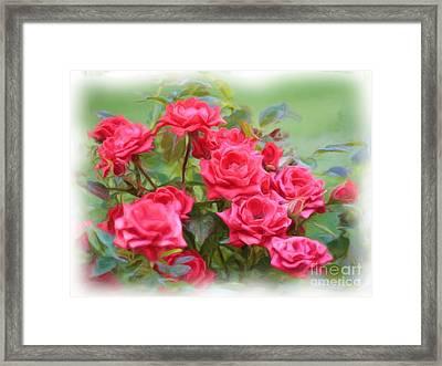 Victorian Rose Garden - Digital Painting Framed Print