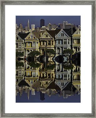 Victorian Row Reflection Framed Print by Garry Gay