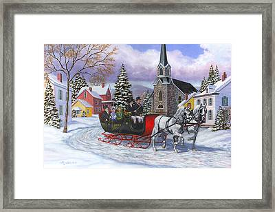 Victorian Sleigh Ride Framed Print by Richard De Wolfe