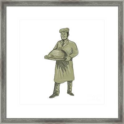 Victorian Waiter Serving Food Platter Drawing Framed Print by Aloysius Patrimonio