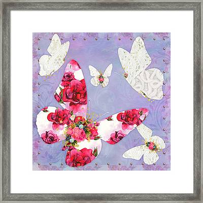 Victorian Wings, Fantasy Floral And Lace Butterflies Framed Print