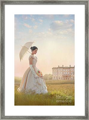 Victorian Woman With Parasol And Fan Framed Print by Lee Avison