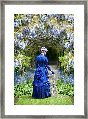 Victorian Woman With Wisteria Framed Print