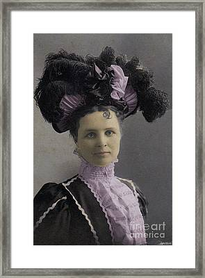 Victorian Women With Big Hat Framed Print by Lyric Lucas