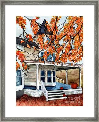 Victoria's Pumpkin Porch - Halloween House Framed Print by Janine Riley