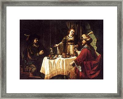 Victors Jan The Banquet Of Esther And Ahasuerus Framed Print