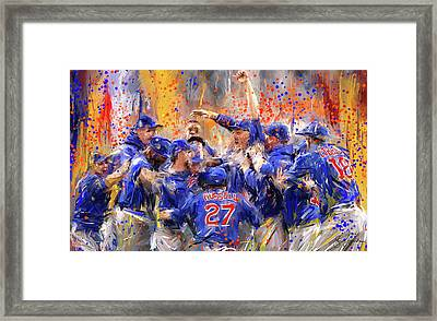 Victory At Last - Cubs 2016 World Series Champions Framed Print
