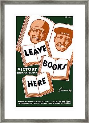 Victory Book Campaign - Wpa Framed Print by War Is Hell Store