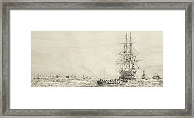 Victory Lying In The Harbour At Portsmouth Framed Print by MotionAge Designs