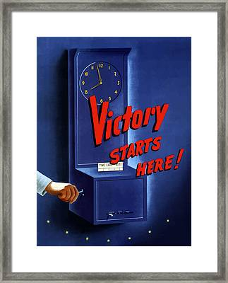 Victory Starts Here Framed Print by War Is Hell Store