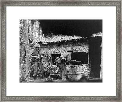 Viet Cong Camp Framed Print by Underwood Archives