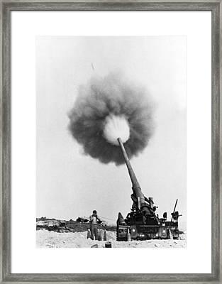 Vietnam Artillery Firing Framed Print