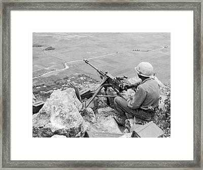 Vietnam Machine Gunner Framed Print by Underwood Archives