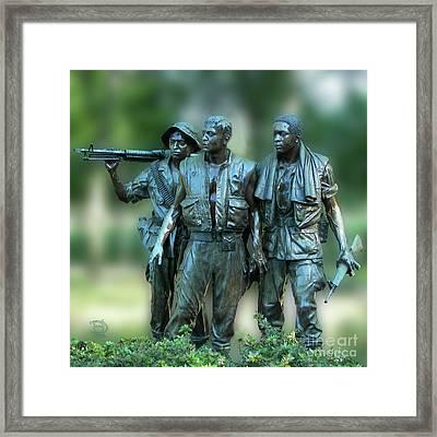 Vietnam Memorial Soldiers Framed Print
