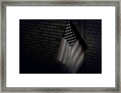 Vietnam Memrial Wall With Us Flag Framed Print