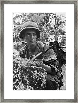 Vietnam Soldier Framed Print by Underwood Archives