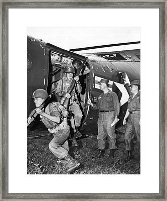 Vietnam Us Army Advisors Framed Print by Underwood Archives