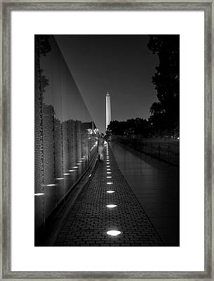Vietnam Veterans Memorial At Night In Black And White Framed Print by Chrystal Mimbs