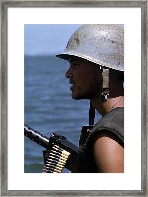 Vietnam War, A Navy Gunner Mans His 50 Framed Print