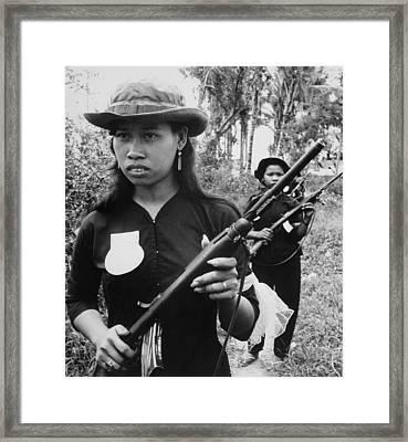 Vietnam War. Girl Volunteers With Fine Framed Print by Everett