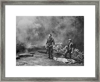 Vietnam War. Two American Gis Standing Framed Print by Everett