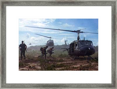 Vietnam War, Uh-1d Helicopters Airlift Framed Print by Everett