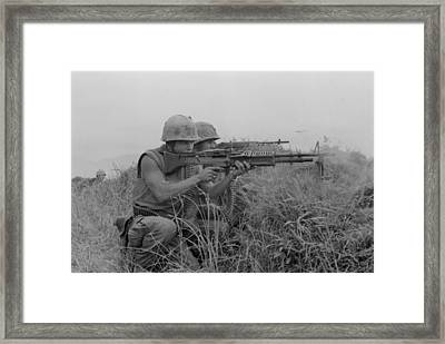 Vietnam War. Us Marine Machine Gunner Framed Print