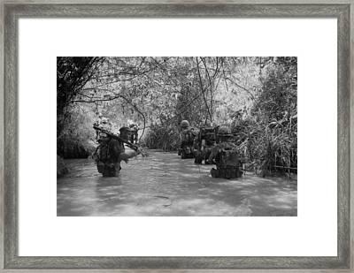 Vietnam War. Us Marines Move Framed Print by Everett