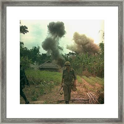 Vietnam War. Us Marines Walk Away Framed Print