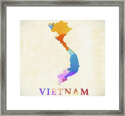 Vietnam Watercolor Map Framed Print