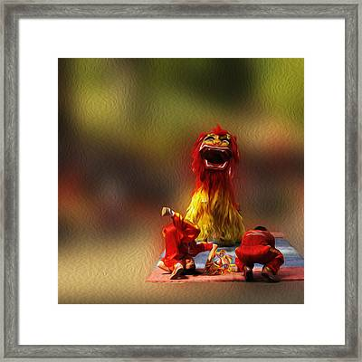 Vietnamese Lion Dance. Framed Print by Nhi Ho Thi Xuan