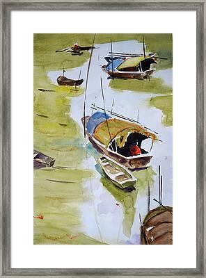 Vietnamese Sampans Framed Print