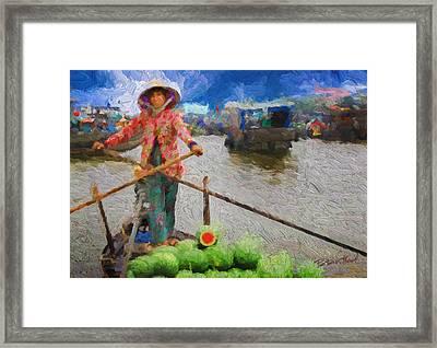 Vietnamese Woman Boating Framed Print by Peter Moderdovsky