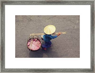 Vietnamese Worker From Above Framed Print