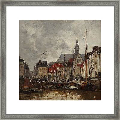 Vieux Bassin A Anvers Framed Print by Boudin