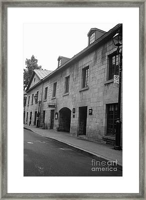 Vieux Montreal Street Scene Framed Print by Reb Frost