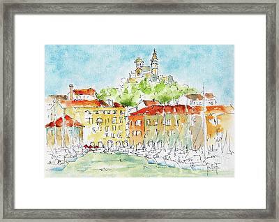 Framed Print featuring the painting Vieux Port Marseille by Pat Katz