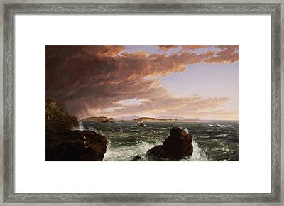 View Across Frenchman's Bay From Mt. Desert Island After A Squall Framed Print by Thomas Cole