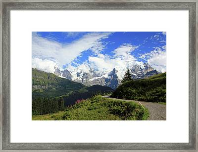 View At The Famous Mountains Eiger Moench And Jungfrau Switzerland Framed Print
