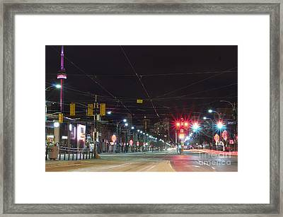 View Down Spadina Ave At Night. An Framed Print