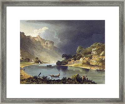View Down The River At The New Weir Framed Print