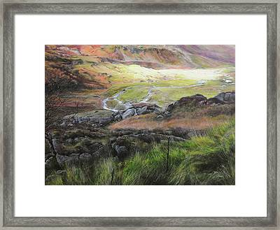 View Down The Valley In Snowdonia. Framed Print by Harry Robertson