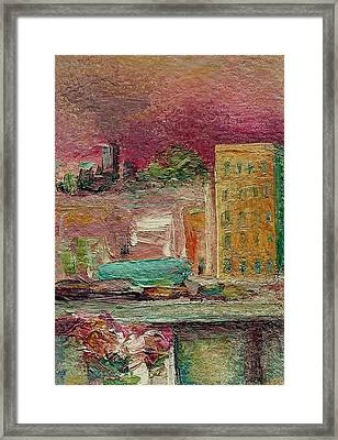 Framed Print featuring the painting View From A Balcony by Mary Wolf