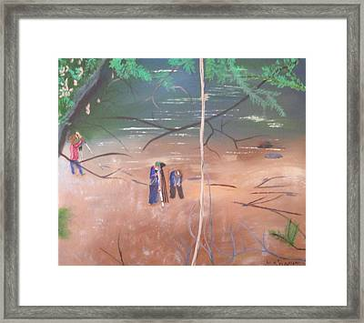 View From A Cliff Framed Print by Tina Brown
