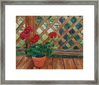 View From A Deck Framed Print by Lynne Reichhart