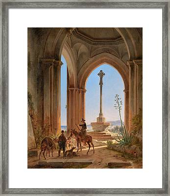 View From A Gothic Church Ruin With Locking Hunters On A Pilgrimage Cross And A Bay In Valencia Framed Print by Celestial Images